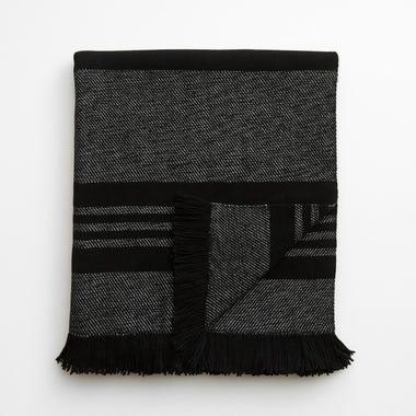 Sierra Stripe Black Throw Blanket