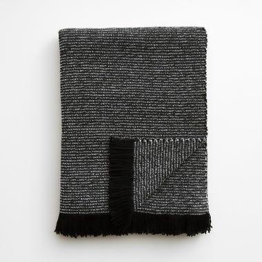 Chenille Tweed Black Throw Blanket