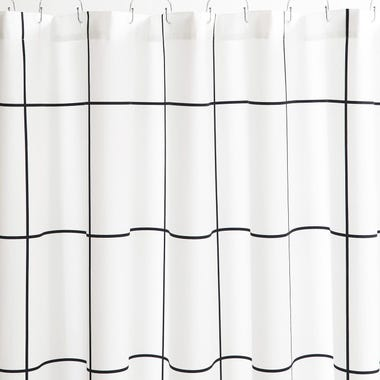 Grid Black Shower Curtain