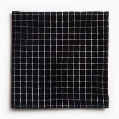 Linen Black and Ivory Plaid Napkin