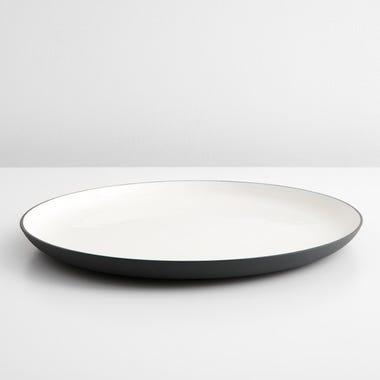 Enamel Matte Black Round Platter