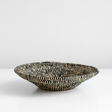 Heathered Black and White Raffia Bowl