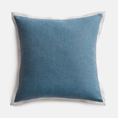 "Edge Teal + Stone Throw Pillow Cover 17"" x 17"""