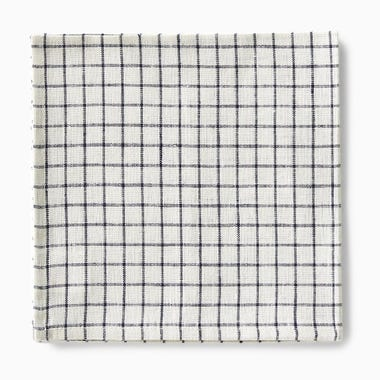 Linen Ivory and Black Plaid Napkin