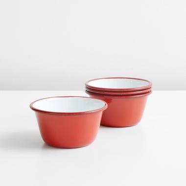 Falcon Red Enamelware Bowls Set of 4