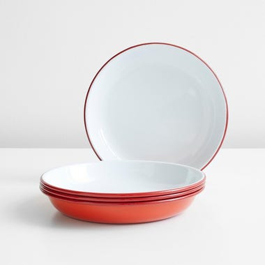 Falcon Red Enamelware Deep Plates Set of 4
