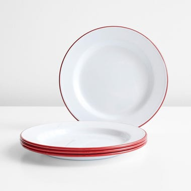 Falcon Red Enamelware Plates Set of 4