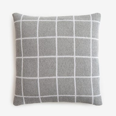 "Grid Gray Knit Throw Pillow Cover 18"" x 18"""