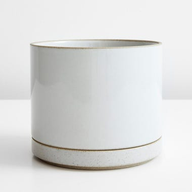 Hasami Gloss Gray Large Planter And Saucer Set