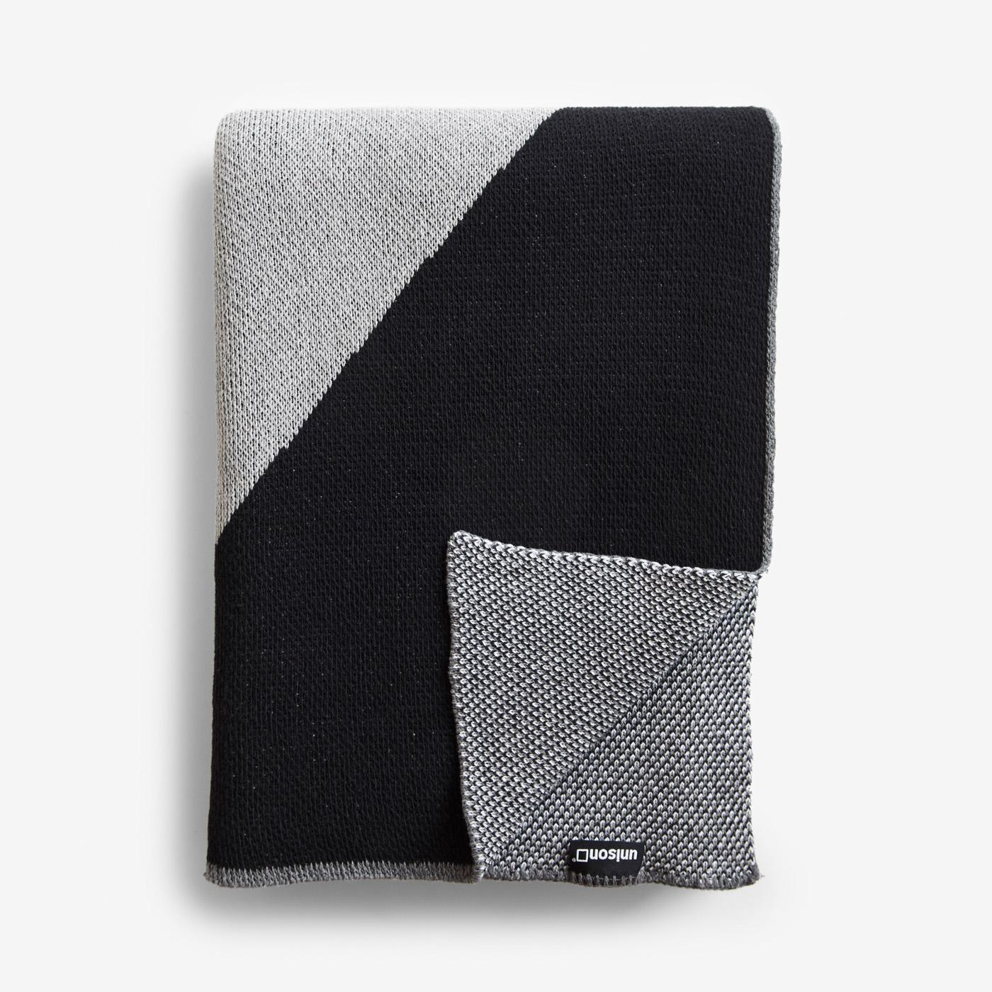 Turin Black Knit Throw Blanket