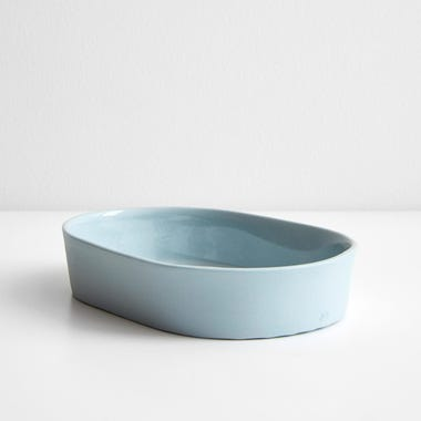 Chroma Blue Gray Oval Tray