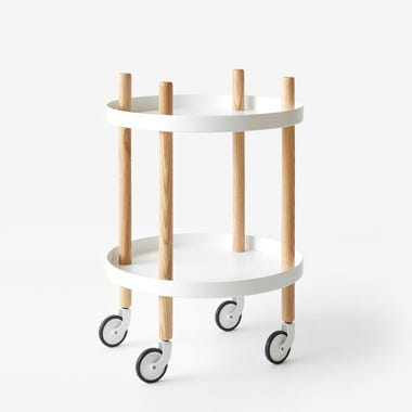 White Round Block Cart