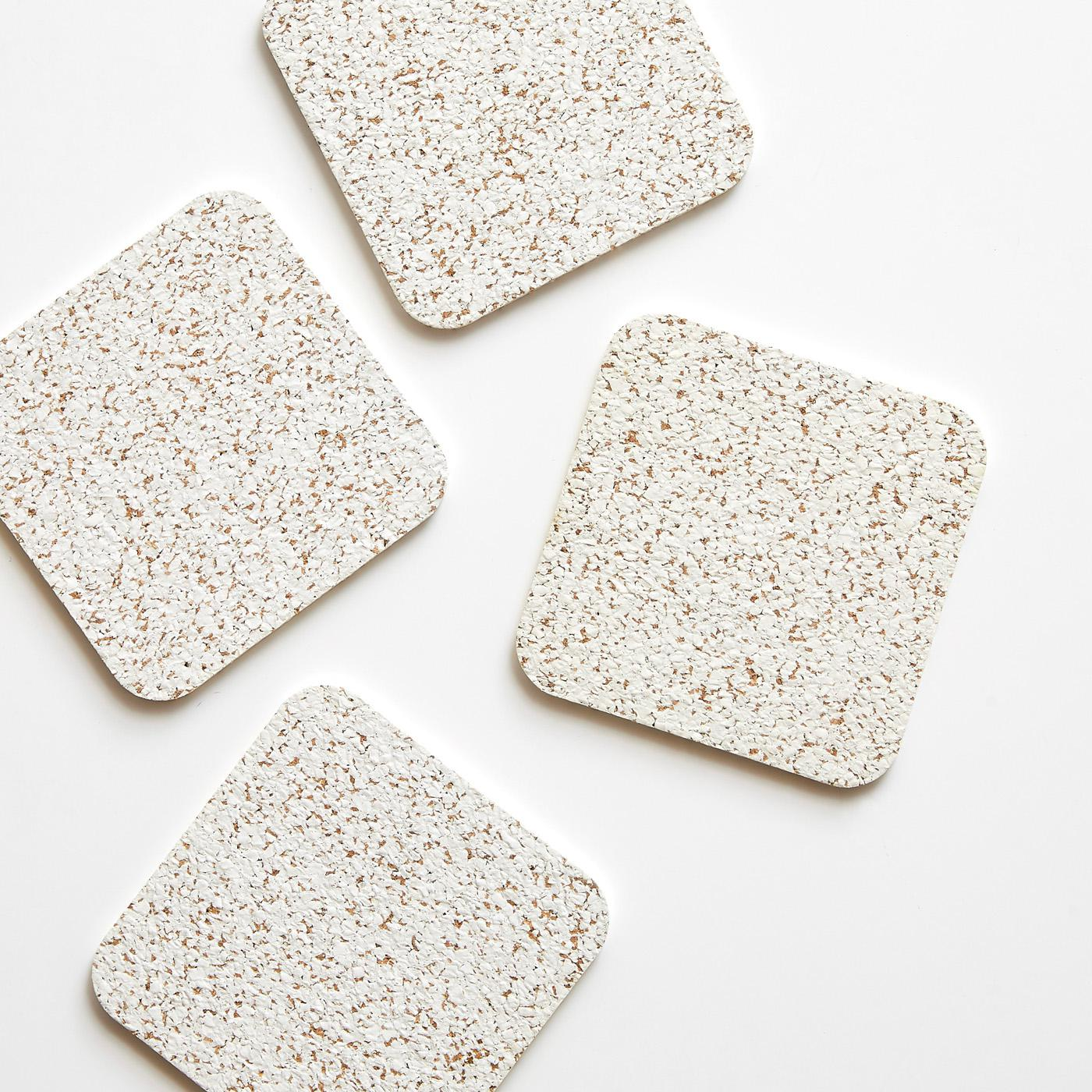 Cork White Coasters Set of 4