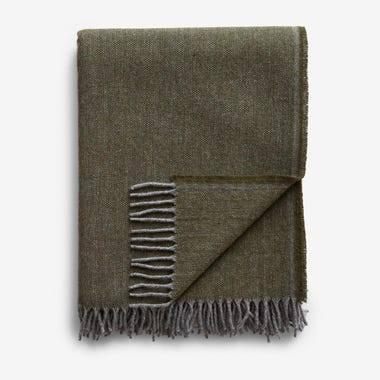Jackson Olive Wool Throw Blanket