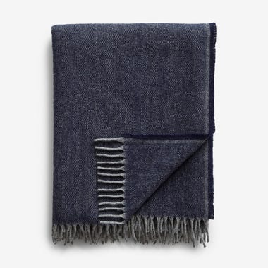 Jackson Blue Wool Throw Blanket