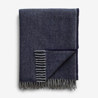 Jackson Blue Wool Throw Blanket
