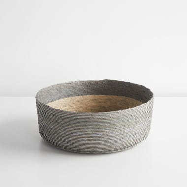 Gray Band Round Basket 12""