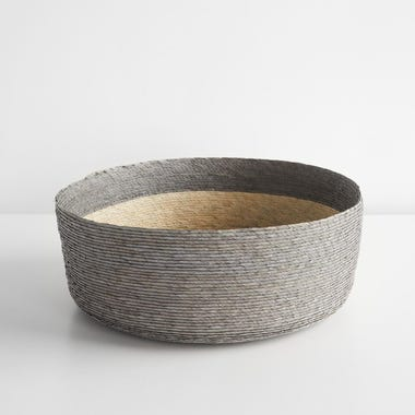 Gray Band Round Basket 14""