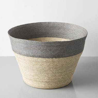 Gray Band Tall Floor Basket