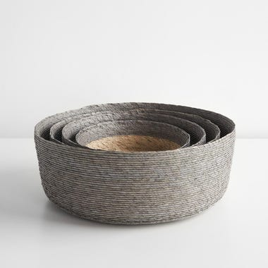 Gray Band Round Basket Set of 4