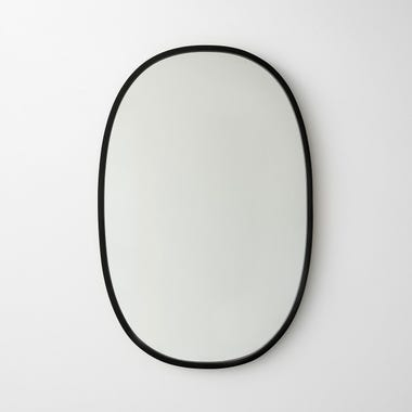 "Hub Black Oval Mirror 18"" x 24"""