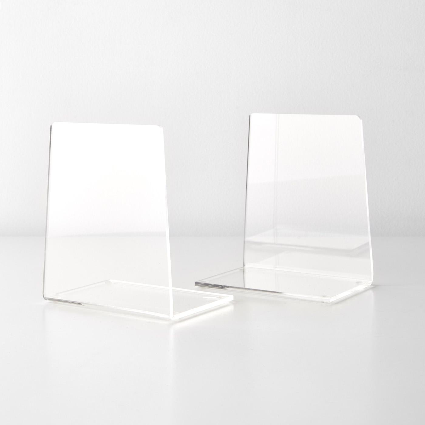 Library Office School Supplies Stationery Gift Plastic Acrylic Bookend for Heavy Books Ends and Desktop Organizer Lulonpon 2pcs Bookends Clear Bookends Decor for Shelves