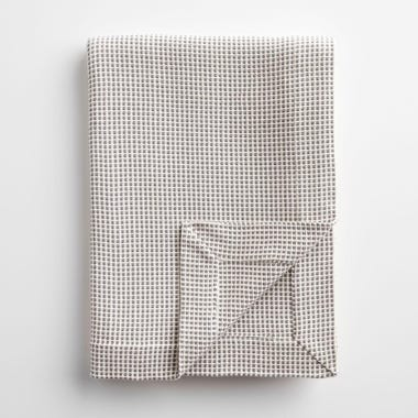 Dobby Gray and Ivory Blanket Twin