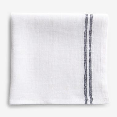 Linen White and Black Stripe Napkin