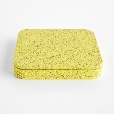 Cork Yellow Coasters Set of 4