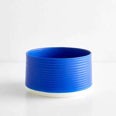 Ribbed Electric Blue Planter