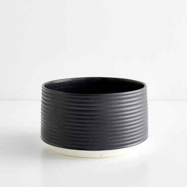 Ribbed Black Planter