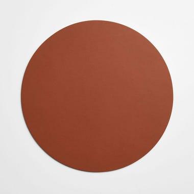 Dot Cognac Round Leather Placemat