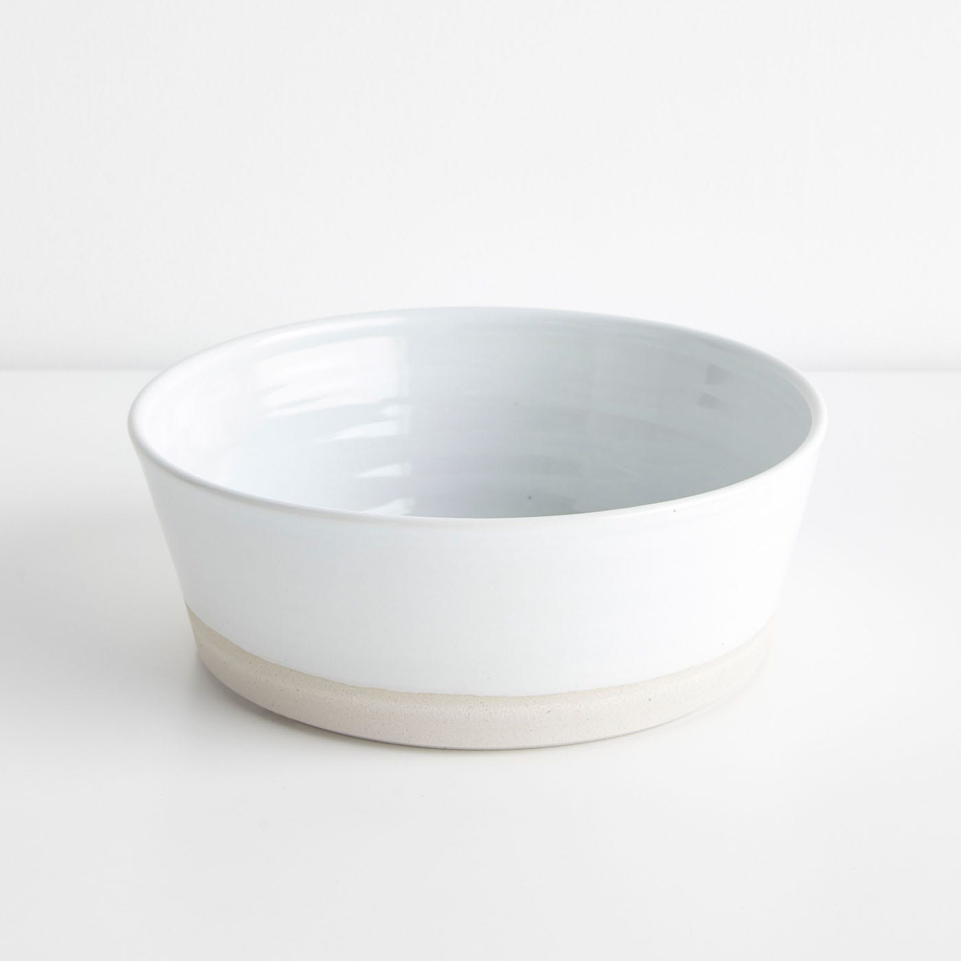 Thrown Gloss White Flat Bowl
