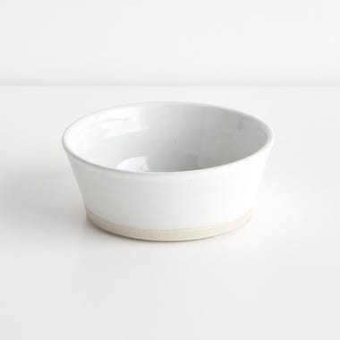Thrown Gloss White Flat Bowl 5.5""
