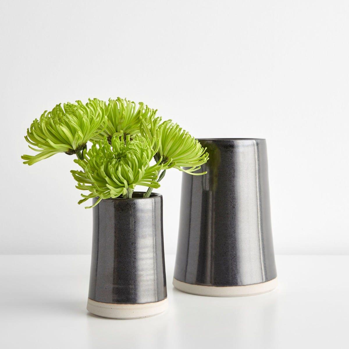 Thrown Gloss Black Vases
