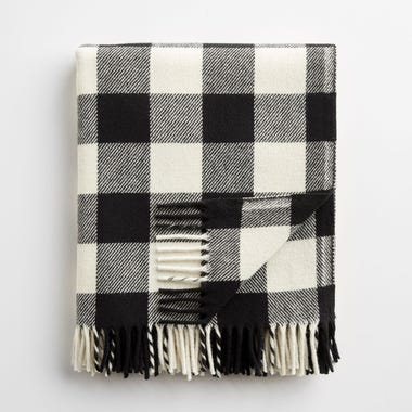 Buffalo Check White and Black Throw Blanket