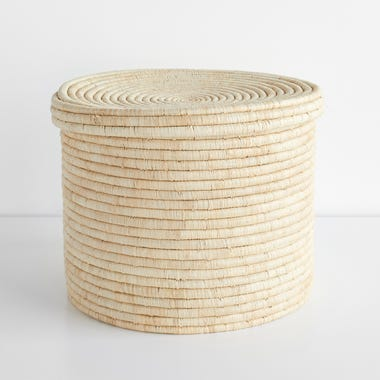 Lidded Natural Storage Basket 14""