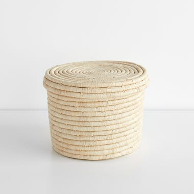Lidded Natural Storage Basket 10""