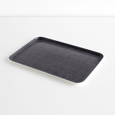Pinstripe Navy Large Linen Coated Tray