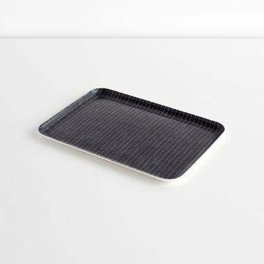 Pinstripe Navy Medium Linen Coated Tray