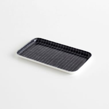 Pinstripe Navy Small Linen Coated Tray