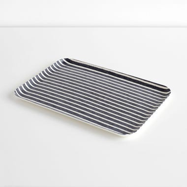Bakers Stripe Navy Large Linen Coated Tray