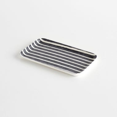 Bakers Stripe Navy Small Linen Coated Tray
