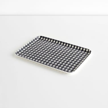 Check Navy Medium Linen Coated Tray