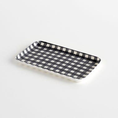 Check Navy Small Linen Coated Tray
