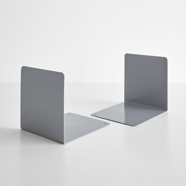Gray Steel Bookends Set of 2