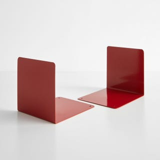 Red Steel Bookends Set of 2