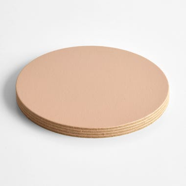 Dot Apricot Round Leather Coasters Set of 4