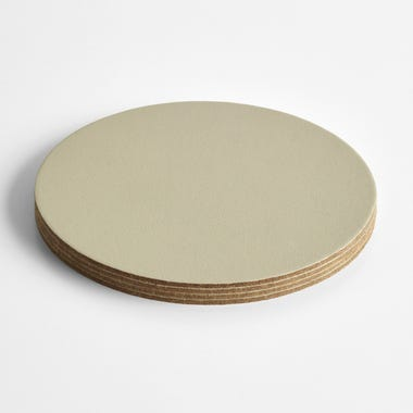 Dot Cement Round Leather Coasters Set of 4
