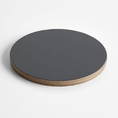 Dot Charcoal Round Leather Coasters Set of 4